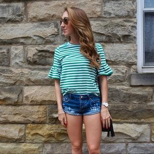 Tops - Striped Ruffle Sleeve Tee